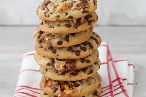 Chewy-Chocolate-Chip-Snickers-Cookies_Bakers-Royale_Stacked